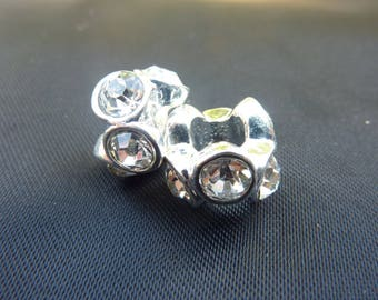 2 beads 12 mm silver plated and Crystal rhinestones