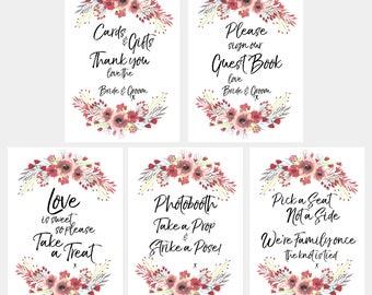 Bundle - Instant Download Red Floral Wedding Signs