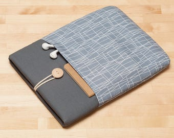 Surface Pro case, Surface Pro 4 sleeve, Surface Pro Cover, Surface Book case, padded with pockets - Web grey graphite