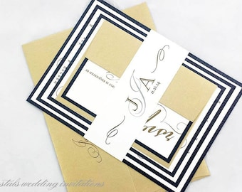 The Rossen Suite - Calligraphy Layered Wedding Invitation Suite - SAMPLE
