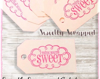 I Think You're Sweet Tags ... Sweet Tags/ Treat Tags/ Favor Tags/ Gift Tags/ Dessert Labels/ Goodie Bags/ Goody Bags/ Candy Tags/ Treat Bags