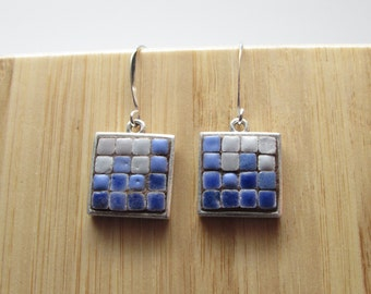 Mosaic art jewelry, Mosaic earrings, Blue earrings, Moroccan Tiles, Ceramic Jewelry, Silver