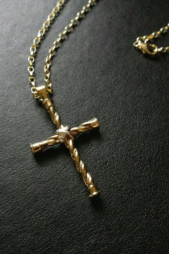 Gold Celtic cross -  unique design - handcrafted in Ireland - Free worldwide shipping