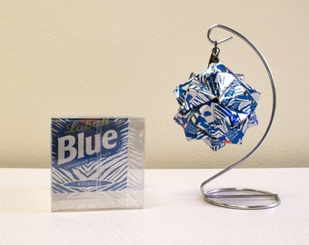 Labatt Blue #ZUBAZ Christmas Ornament.  Upcycled Recycled Repurposed Can Art.