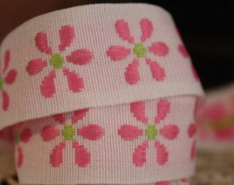 Embroidery Pink Flower Ribbon