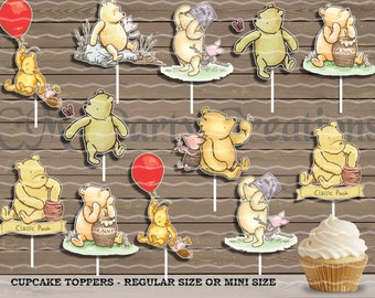 Classic Winnie the Pooh Cupcake Toppers, Die Cuts, Baby Shower/Birthday Party Cupcake Toppers
