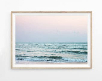 Abstract Ocean Print, Pink Wall Art, Seascape Photography Download Ocean Art Printable Photo Coastal Art Print Beach Waves Pastel Art  b7c5c