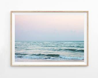 Abstrakte Ozean Druck, Rosa Wand-Kunst, Landschaft Fotografie Download Ozean Kunst druckbare Foto Küsten Druck Strand Wellen Pastell Kunst b7c5c