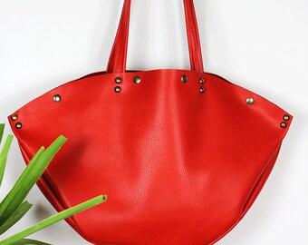 Large Red Leather Shoulder Bag/Minimalist Leather Bag/Everyday Carry-All Leather Bag/Red Leather Handbag - BebaRed1
