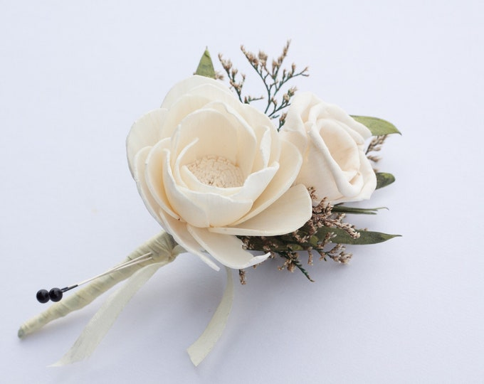 Silk Ribbon Dahlia Boutonierre (available in multiple colors) - Ivory Dahlia and Silk Ribbon Boutonnière - Wood sola flower boutonniere