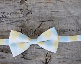 READY TO SHIP ---- Baby blue and Yellow Argyle bow tie for little boys - photo prop, wedding, ring bearer, accessory