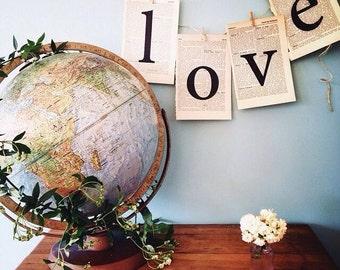 LOVE decoration for Romantic wedding decor, vintage wedding decor handmade from vintage paper