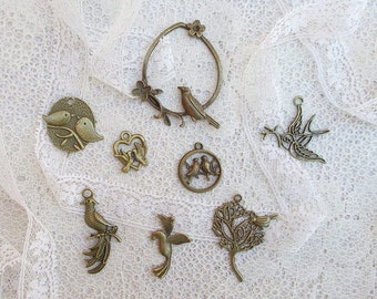Metal Bird Charms,  Set #1, Scrapbooking, Card Making, Metal Charms, Mixed Media, Shabby Chic