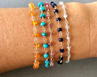 Gemstone beaded bracelet, Gift for Daughter, Gemstone Bracelet, Stacking Bracelet, Gemstone Chain Bracelet, Bohemian Jewelry, muse411