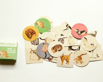 Stickers autocollant/ 40 stickers/lovely cat/ cat lovers