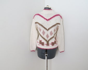 Vintage 1990s Cream Pink & Brown Heart Chunky Turtleneck Sweater - Womens Bust 33 (B6)