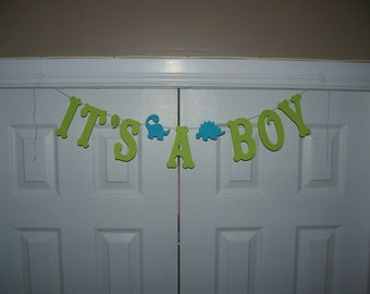 IT'S A BOY Letter Banner with Dinosaurs - Lime Green, Turquoise Blue - Banner - Wall Decor - Baby Shower decoration - photo prop -Dino