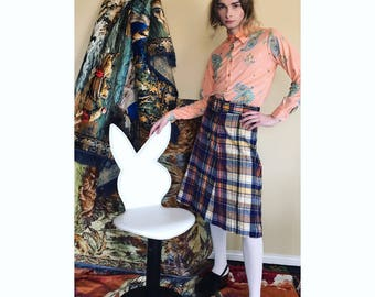 70s wool plaid skirt