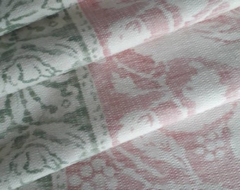 Large panel of beautiful heavy linen in faded pink and green with border and bird design.