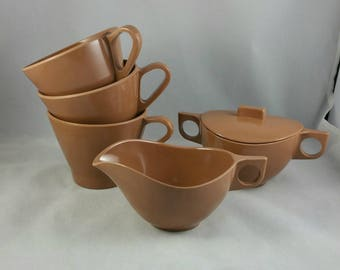Vintage Melmac Cream And Sugar Set With 3 Coffee Cups, Brown Melmac Dishes, Made In Canada