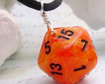 Orange Dice Necklace - Orange Swirl D20 Dice Pendant Twenty Sided Dice Jewelry - Geeky Gamer Jewelry