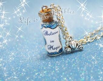BELIEVE In MAGIC Necklace, Pumpkin Carriage Charm, Cinderella Necklace, Disney Bound Cosplay, Believe, Bottle Necklace, Disney Christmas