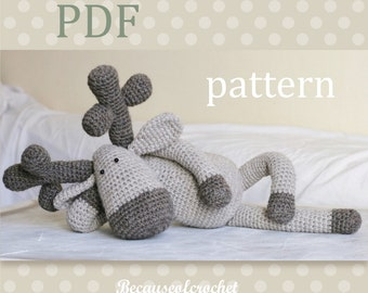 "PDF Crochet PATTERN for beginners - Reindeer amigurumi toy. Finished size approx. 16,5"" = 42 cm. Written in US terms."