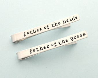1 Tie Clip for father of the groom, father of the bride,  Personalized metal Tie Clip, custom Tie Clip, hand stamped Tie clip