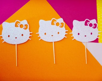 12 Hello Kitty Toppers Birthday, Hello Kitty Cupcake Toppers, Hello Kitty Party, 1st Birthday, Cat Theme Party, Cat Toppers