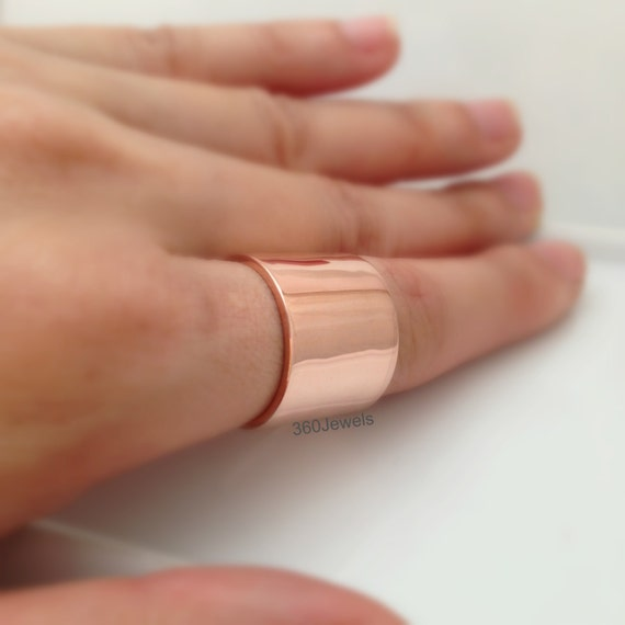 Thumb Ring Extra Wide Ring Band 16mm Rose Gold Plated over
