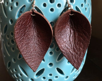Leather Earrings- Leather Leaf Earrings- Joanna Gaines Magnolia Inspired- gift