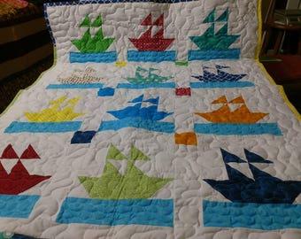 Handmade Pieced-Boy-Girl-Scrappy-Sailor Boat Ship  Baby Crib Lap Quilt Blanket Made in Arkansas Ozarks