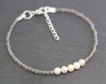 Pearl and Labradorite Bracelet, Pearl Bracelet, Labradorite Bracelet, Brides Bracelet, Bridal Jewellery