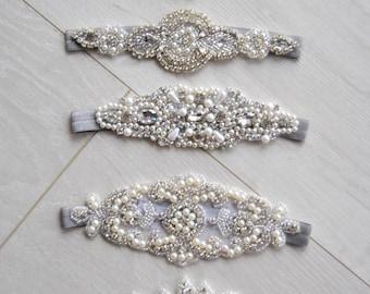 Set of 5 Rhinestone headband , Flower Girl Ivory Baby Flapper 1902s rhinestone wedding bridal bridesmaid great gatsby flapper headband
