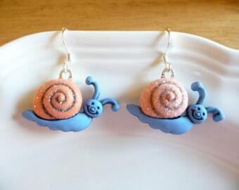 nd-Blue and Orange Smiling Snail Dangle Earrings