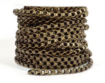 Large Box Link Rolo Chain - Antique Brass - 6mm x 4.5mm Links - CH145 - Choose Your Length