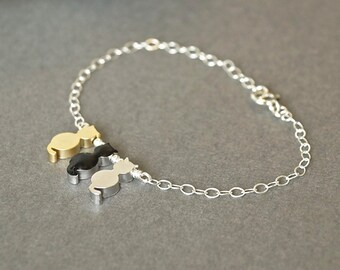 Pet Gift,Cat Bracelet,Gold Cat Bracelet Black Cat Bracelet Silver Cat Bracelet,Three 3 Cat Bracelet,Pet Memorial Jewelry, Gift For Cat Lover