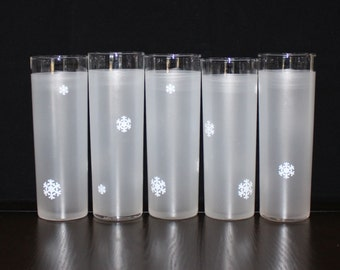 Vintage, Set of 5, Libbey Frosted Whited Snowflake Tumblers, Highball, Tom Collins Glasses