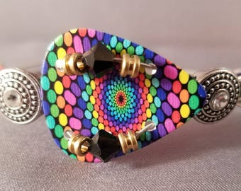 "Guitar String and Guitar Pick Bracelet ""Colorful Explosion"""