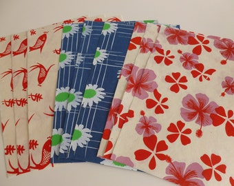 9 A4 sheets handmade screen printed paper/flowers/fish/mixed media/collage/card making/scrapbooking