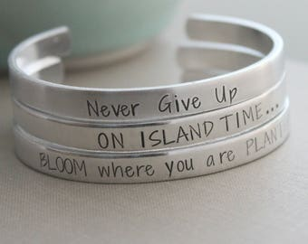 Customized silver aluminum cuff bracelet, Choice of quote or custom saying, slim stacking bracelet, Hand Stamped, Personalized jewelry