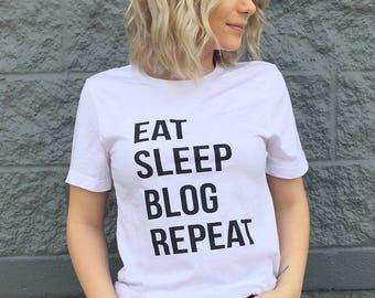 Eat Sleep Blog Repeat softstyle weekend tee, preppy tee