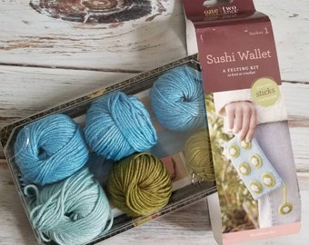 Sushi wallet yarn kit Caribbean sea one stick two stick.  Knit or crochet