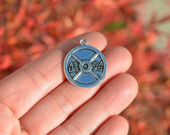 5 Silver Weight Lifting Charms SC5374