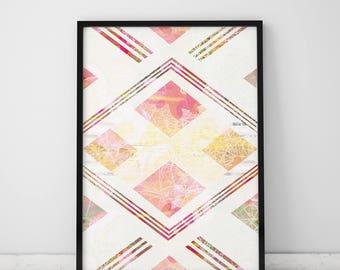 Geometric Print Posters And Prints Geometric Art Feminine Wall Art Prints Abstract Geometric Prints Trending Art Feminine Art Pink Wall Art