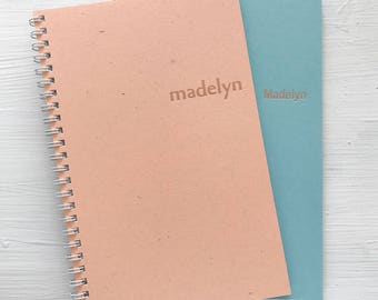 personalized rose gold foil pressed spiral notebook