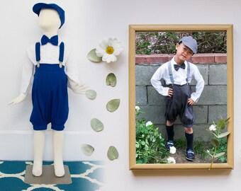 Babies Toddlers and Boys Retro Linen 5 Piece Newsboy Set, Shirt Bermuda Bowtie Hat Suspender, Dark Gray, Royal Blue, Wedding Ring Bearer
