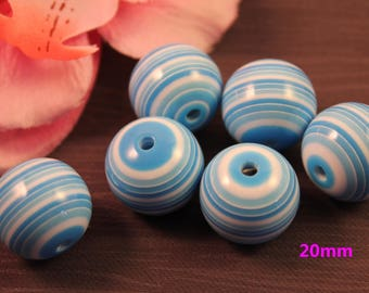 Pearl acrylic 20mm striped blue creating jewelry