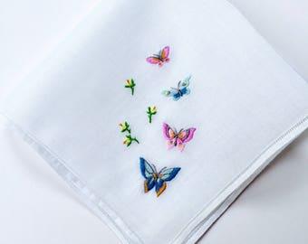 Vintage Hankie with Hand Embroidered Butterflies Hankie Handkerchief