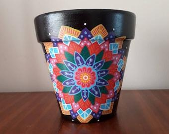 Black mandala Plant Pot